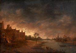 River View by Moonlight | Aert van der Neer | Oil Painting