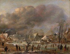 Snowfall on a Village beside a Frozen Canal | Aert van der Neer | Oil Painting