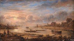 River View at Sunrise | Aert van der Neer | Oil Painting