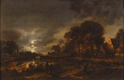 Moonlight Landscape | Aert van der Neer | Oil Painting