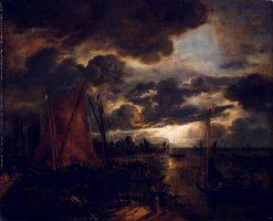 River in Moonlight | Aert van der Neer | Oil Painting