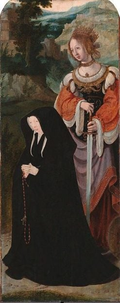 Wing of Lazarus tritptych with donor and Saint Catharine | Aertgen van Leyden | Oil Painting