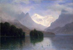 Mountain Scene | Albert Bierstadt | Oil Painting