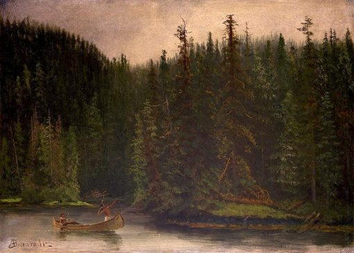Indian Hunters in Canoe | Albert Bierstadt | Oil Painting