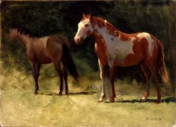 Two Horses | Albert Bierstadt | Oil Painting