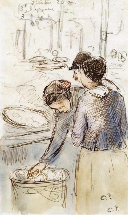 At the Market   Camille Pissarro   Oil Painting