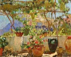 Mediterranean Pergola with View of a Mountain Village   Konstantin Gorbatov   Oil Painting
