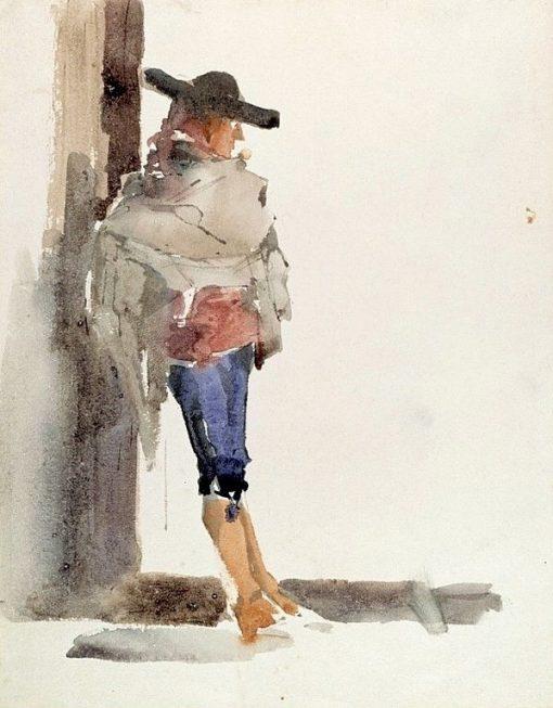 Spaniard Leaning on a Wall (Study) | Albert Edelfelt | Oil Painting