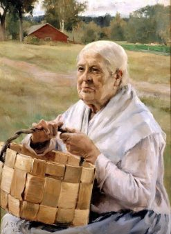 Old Woman with a Splint Basket | Albert Edelfelt | Oil Painting