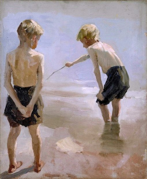 Boys Playing on the Shore (study) | Albert Edelfelt | Oil Painting