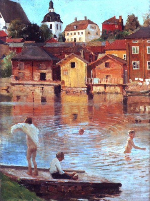 Boys Swimming in the Porvoonjoki River | Albert Edelfelt | Oil Painting