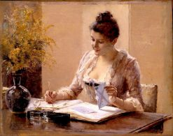 Lady Writing a Letter | Albert Edelfelt | Oil Painting