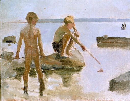Sketch for Boys Playing on the Shore | Albert Edelfelt | Oil Painting