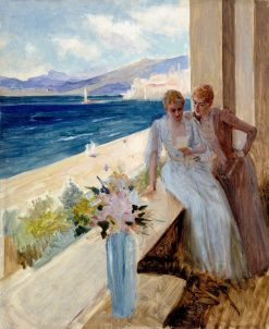 The Artist's Wife and Emelie von Etter on the Balcony in Cannes | Albert Edelfelt | Oil Painting