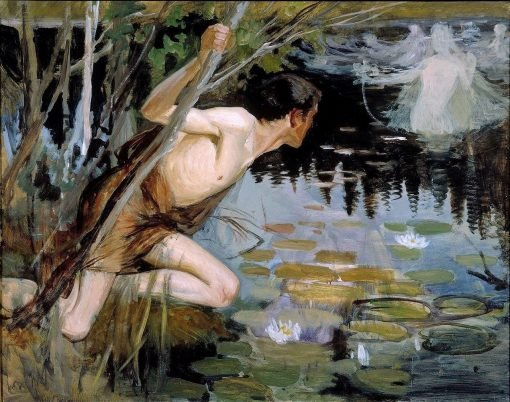 Youth and a Mermaid (sketch) | Albert Edelfelt | Oil Painting