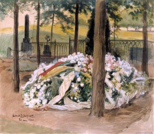 Alexandra Edelfelt's decorated tomb   Albert Edelfelt   Oil Painting