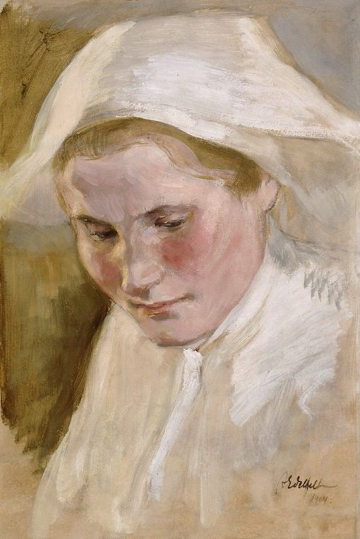 Woman's Head (study for the final draft of St. Brahe series) | Albert Edelfelt | Oil Painting