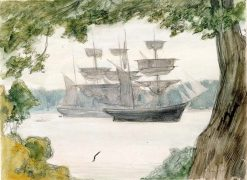 Sailing Boats in Landscape | Albert Edelfelt | Oil Painting