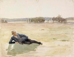 Man Resting in a Meadow | Albert Edelfelt | Oil Painting