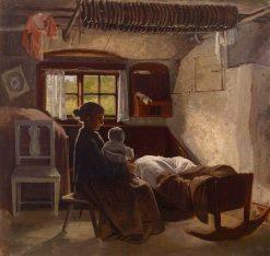 Interior view Uusmaalaisia hut | Albert Edelfelt | Oil Painting