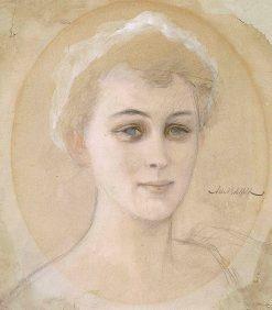Portrait Study of Baroness Naomi (Emi) de la Chapelle | Albert Edelfelt | Oil Painting