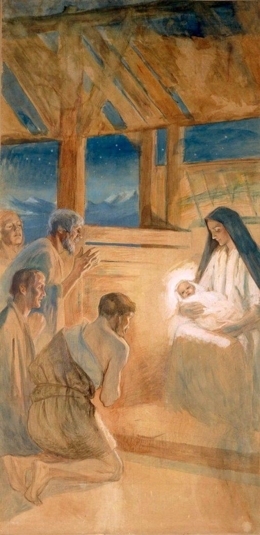 Shepherds Praise Jesus | Albert Edelfelt | Oil Painting