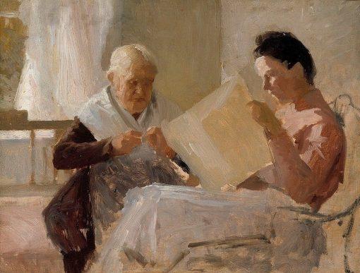 Annie Edelfelt with Fredrika Snygg | Albert Edelfelt | Oil Painting