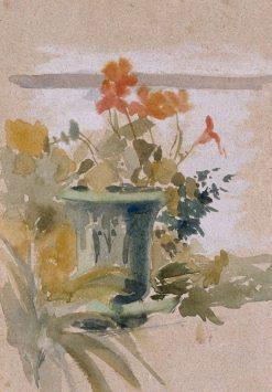 Pelargoniums on the Terrace | Albert Edelfelt | Oil Painting