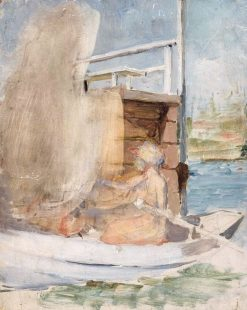 Woman on a Boat at the Pier (unfinished) | Albert Edelfelt | Oil Painting