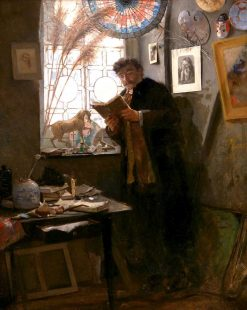 Camille Lemonnier in the Studio of the Artist   Alfred Émile Léopold Stevens   Oil Painting