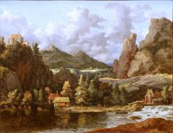 Scandinavian Caprice: River in a Mountain Valley | Allaert van Everdingen | Oil Painting
