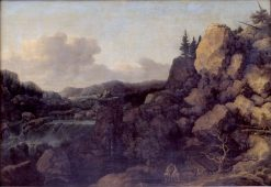 Mountain Landscape with a Couple of Horsemen in the Foreground | Allaert van Everdingen | Oil Painting