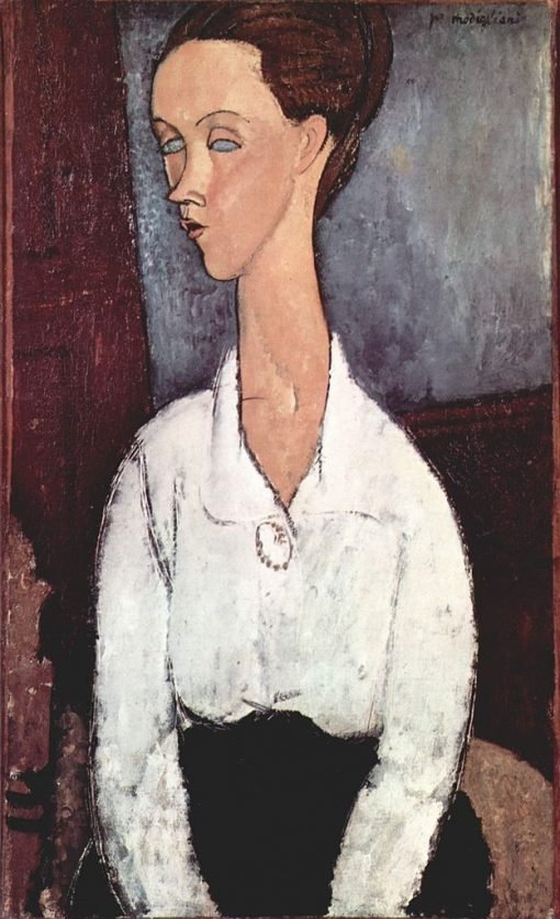Lucia Czechowska in a White Blouse | Amedeo Modigliani | Oil Painting