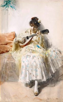 Girl Playing Mandolin | Anders Zorn | Oil Painting