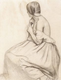 A Seated Young Woman Plaiting Her Hair