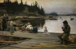 Summer Evening at Hammar's Repair Yard | Albert Edelfelt | Oil Painting