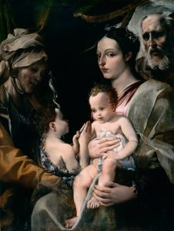 The Holy Family with Saint Elizabeth and Saint John | Annibale Carracci | Oil Painting