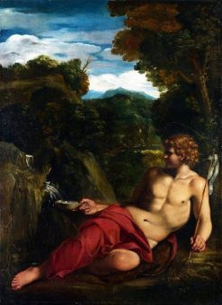 Saint John the Baptist seated in the Wilderness | Annibale Carracci | Oil Painting