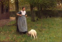 Woman from Laren with Lamb | Anton Mauve | Oil Painting