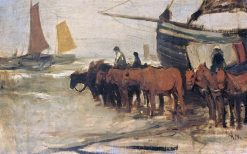 Launching a Fishing Boat into the Sea | Anton Mauve | Oil Painting