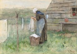 Woman at a Clothes Line | Anton Mauve | Oil Painting