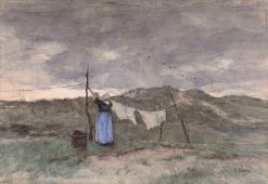 Woman at a Clothes Line in the Dunes | Anton Mauve | Oil Painting