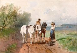Conversation on a Country Road | Anton Mauve | Oil Painting