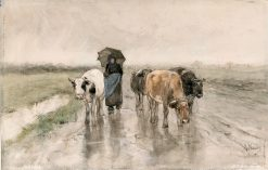 A Peasant Woman with Cows on a Country Road in the Rain | Anton Mauve | Oil Painting