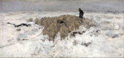 Flock of Sheep with Shepherd in the Snow | Anton Mauve | Oil Painting