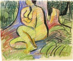 Erna Seated in front of Forest Trees | Ernst Ludwig Kirchner | Oil Painting