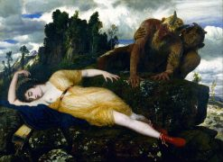 Sleeping Diana Watched by Two Fauns | Arnold Böcklin | Oil Painting