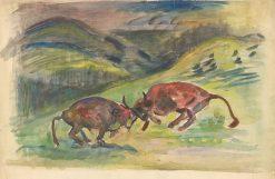 Boj býkov | Arnold Peter Weisz-Kubín?an | Oil Painting