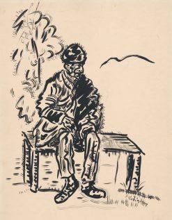Chlap sediaci na lavi?ke   Arnold Peter Weisz-Kubín?an   Oil Painting