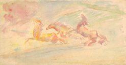 Cválajúce kone   Arnold Peter Weisz-Kubín?an   Oil Painting